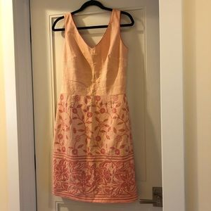 Kay Unger pink and cream sundress